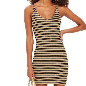 TOPSHOP Metallic Gold Stripe Body-Con Mini Dress